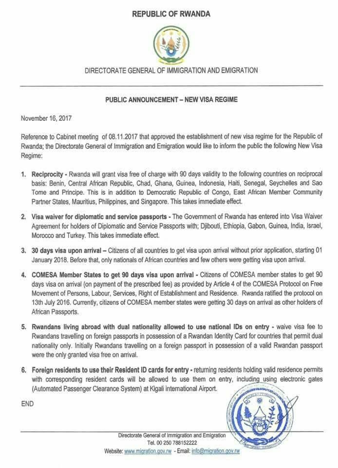 New VISA Regime for Rwanda